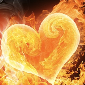 golden flaming heart
