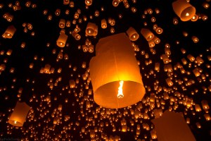 paper lanterns filling the night sky